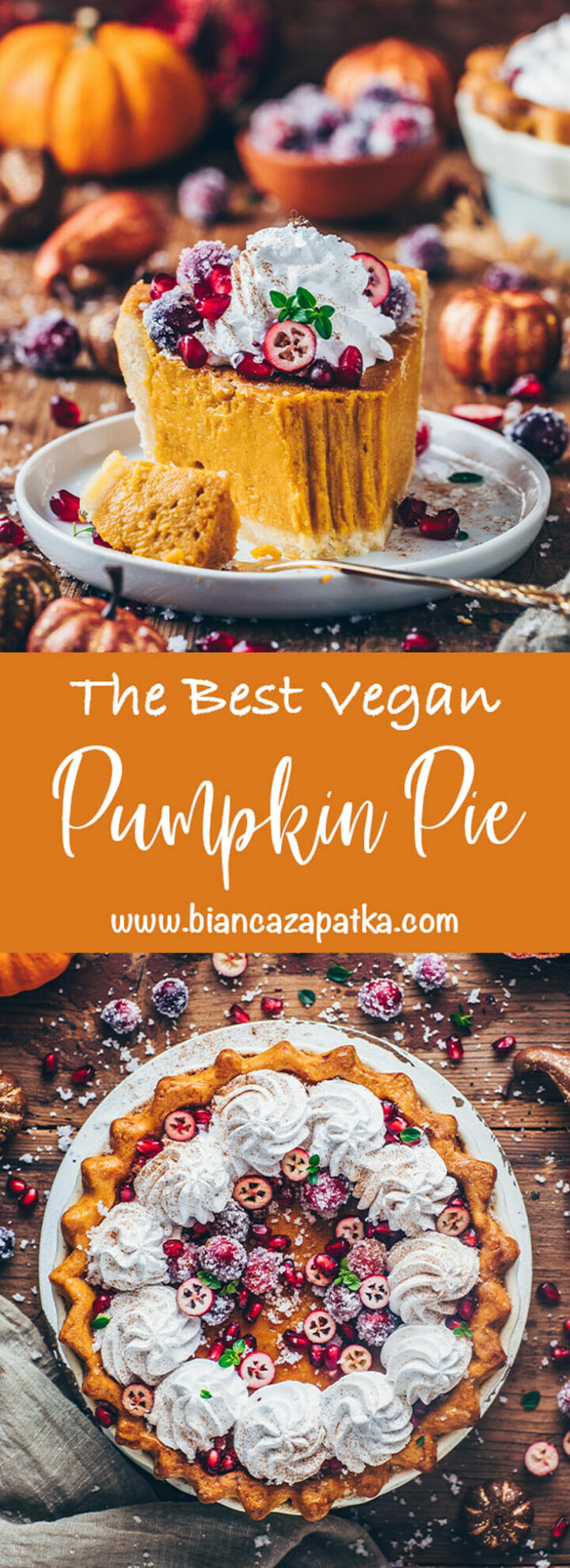 Best Vegan Pumpkin Pie with Sugared Cranberries