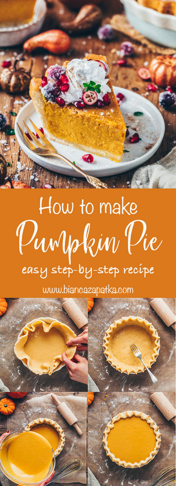 Pumpkin Pie Recipe with step-by-step photos how to make homemade pie crust