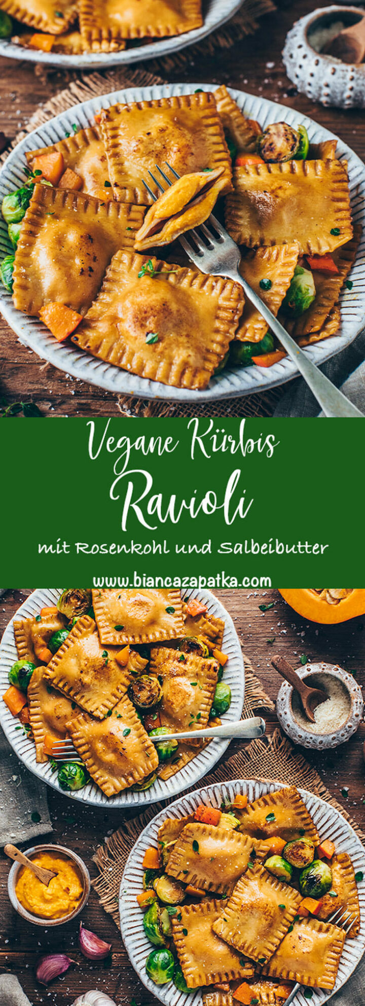 Ravioli mit Kürbis-Ricotta, Salbei Butter und Rosenkohl