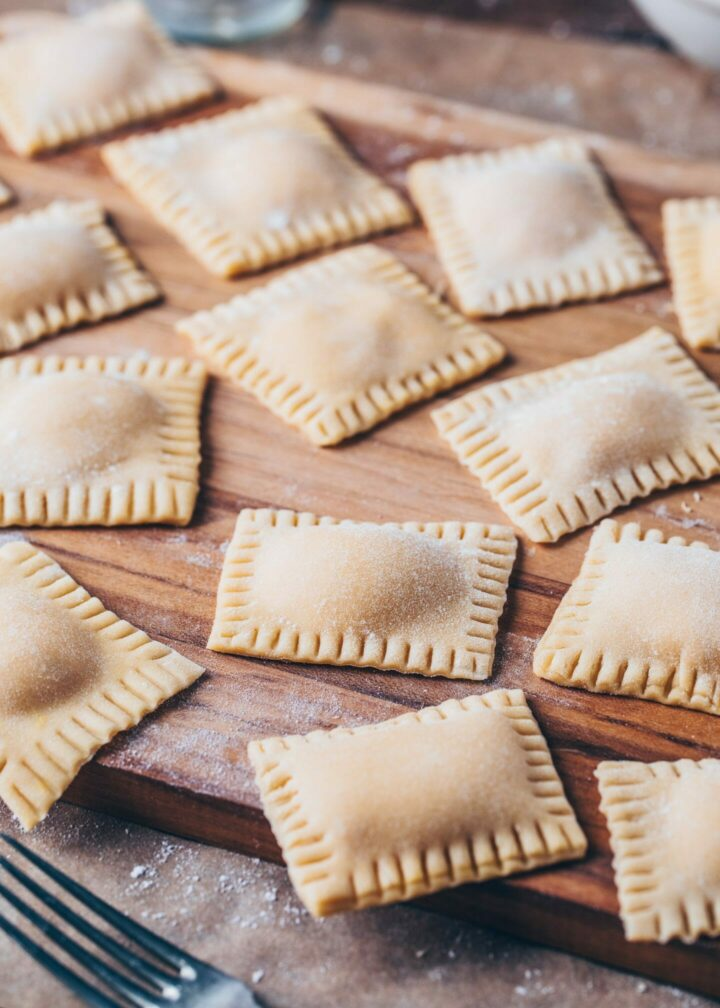 homemade ravioli made of fresh pasta dough
