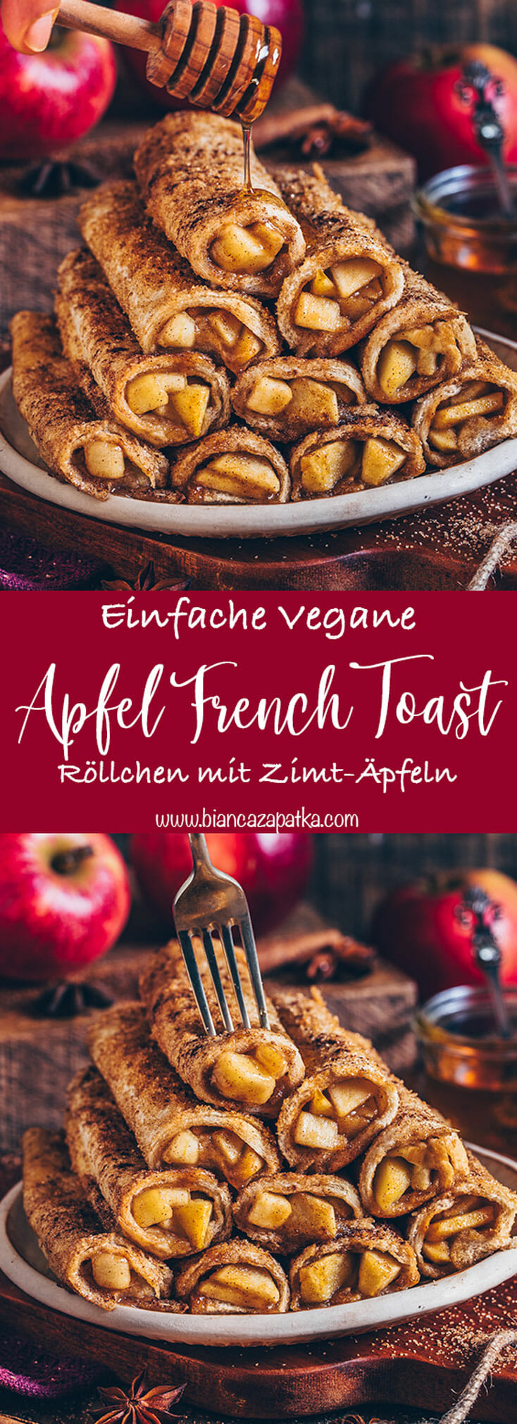 Apfel Zimt French Toast Roll-Ups (Crepes, Pancakes, Pfannkuchen)