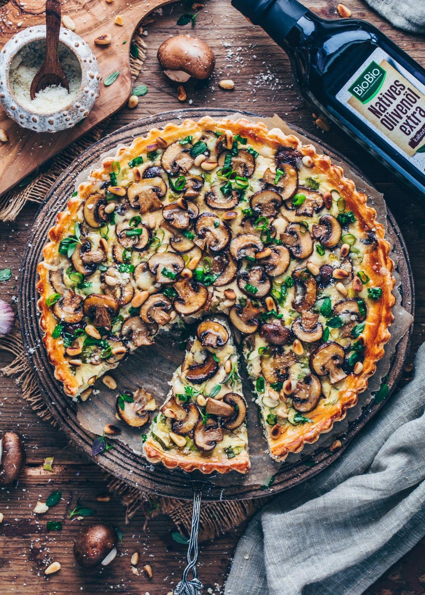 Champignon Tarte (Quiche mit Lauch und Pilzen)