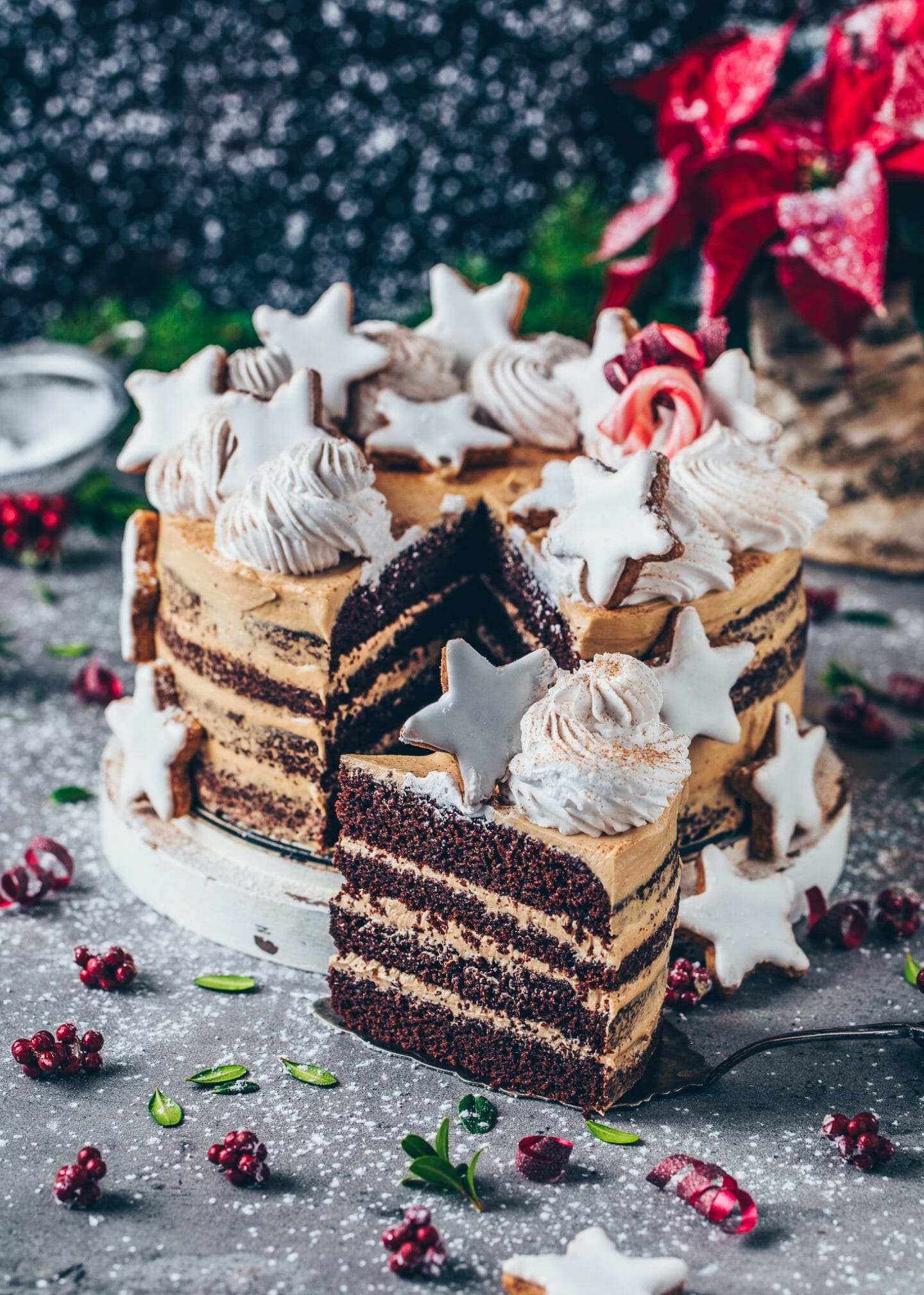 Chocolate Cookie Butter Cake with Cinnamon Stars