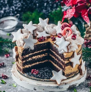 Chocolate Cake with Cookie Butter Frosting and Cinnamon Stars