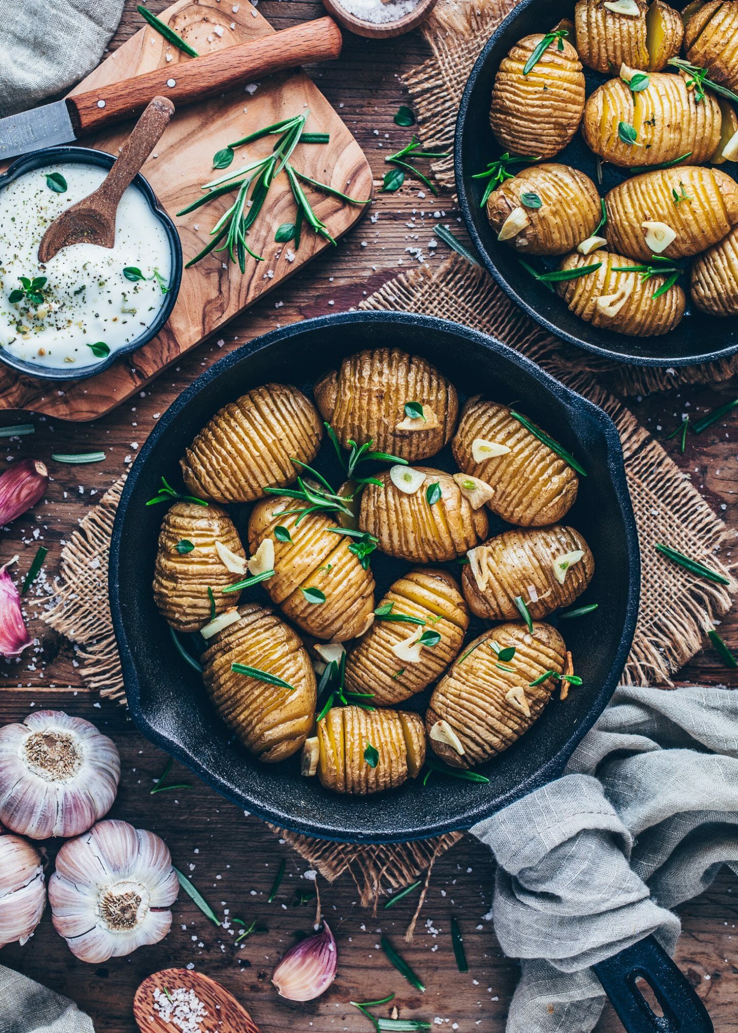 Crispy baked Hasselback Potatoes with garlic, sea salt and rosemary