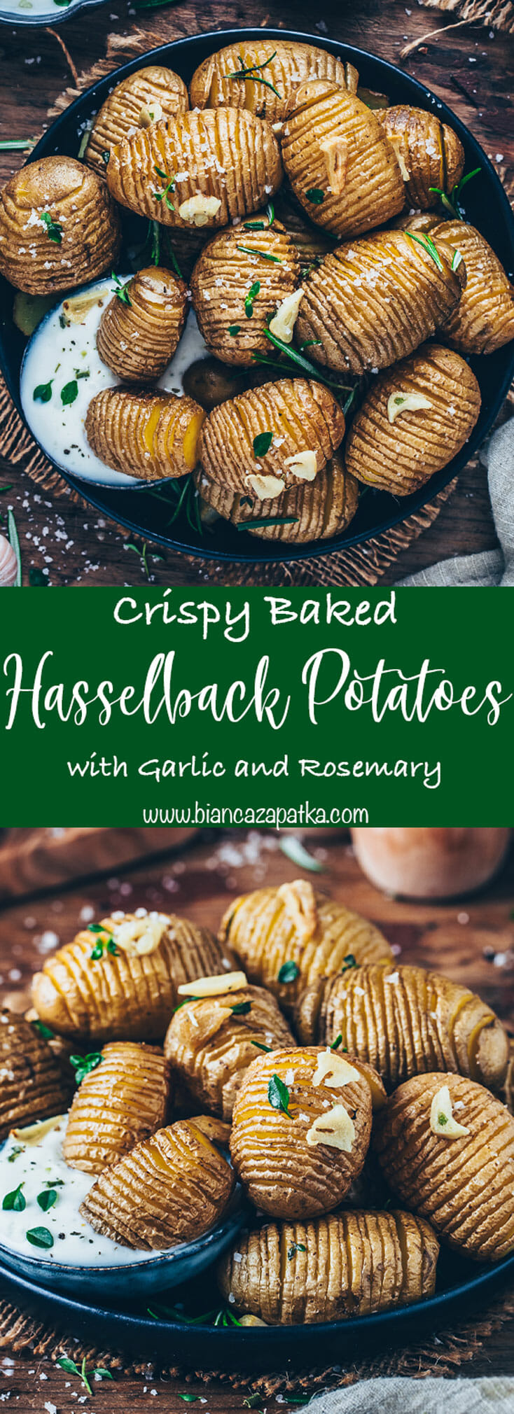 Crispy baked Hasselback Potatoes with garlic and rosemary