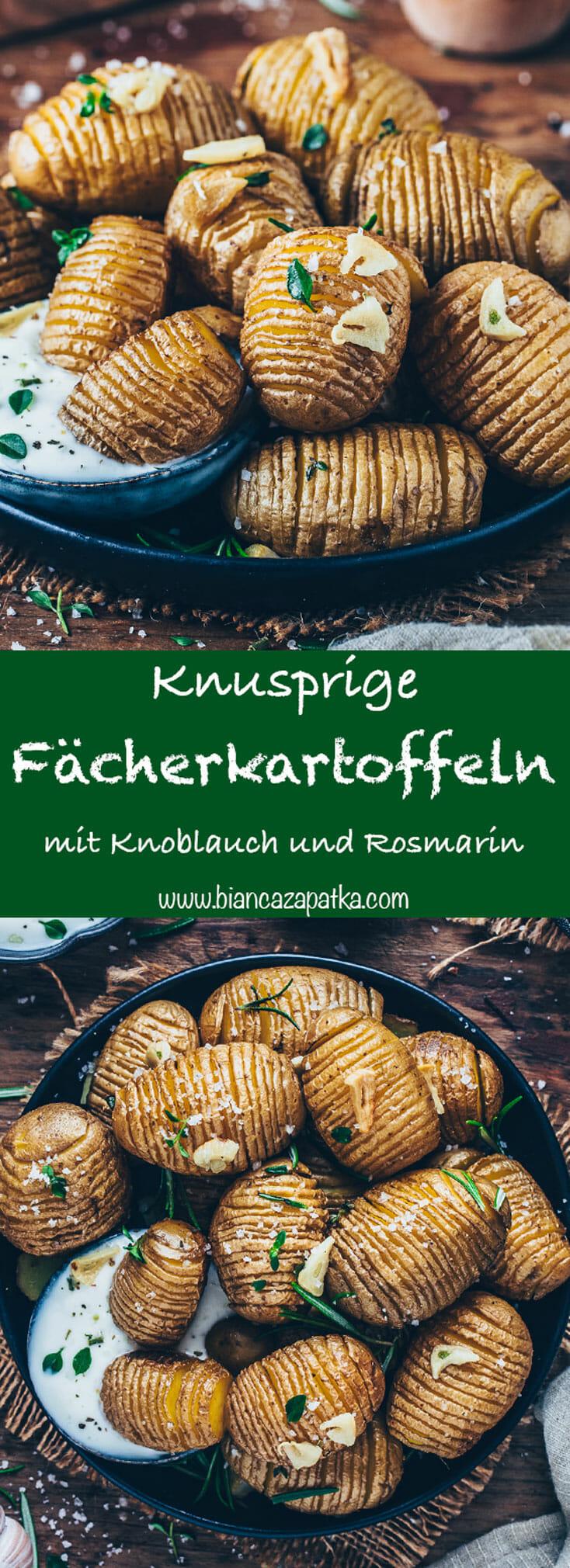 Fächerkartoffeln mit Knoblauch und Rosmarin Ofen-Kartoffeln