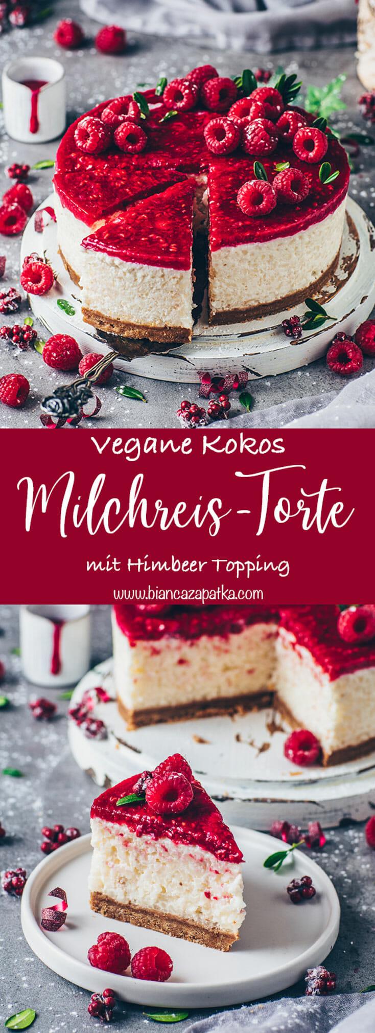 Kokos-Milchreis-Torte mit Himbeeren