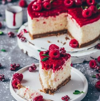 Coconut Rice Pudding Cake with Cookie Crust and Raspberry Sauce