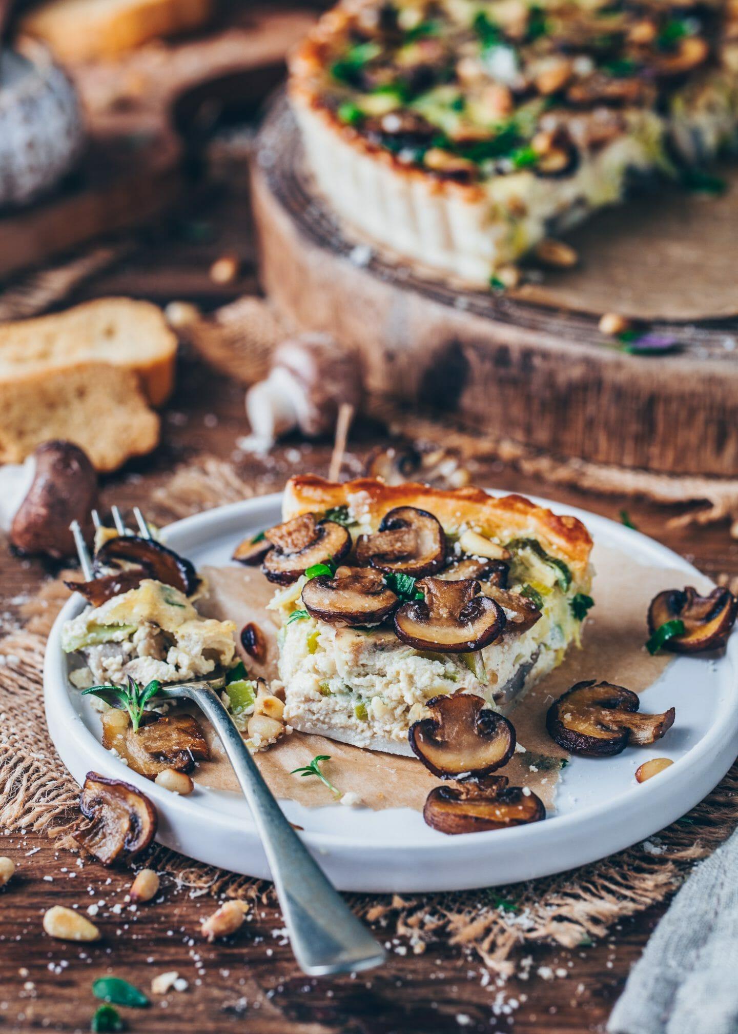 mushroom and leek tart with vegan tofu quiche filling