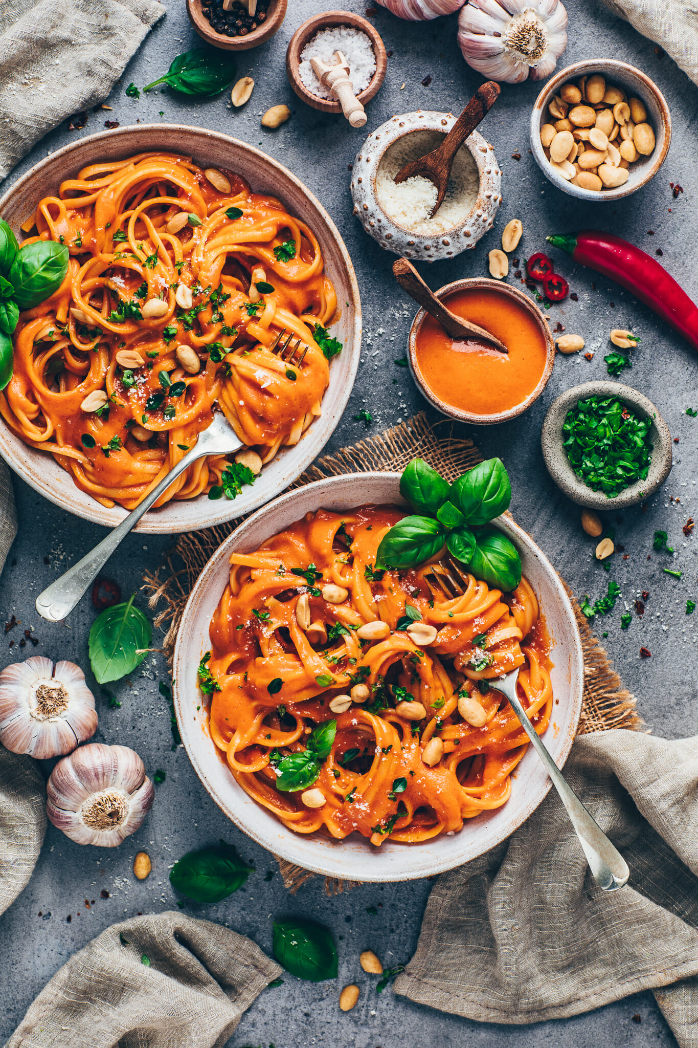 Pasta with Roasted Red Pepper Sauce, peanuts and basil (food photography)