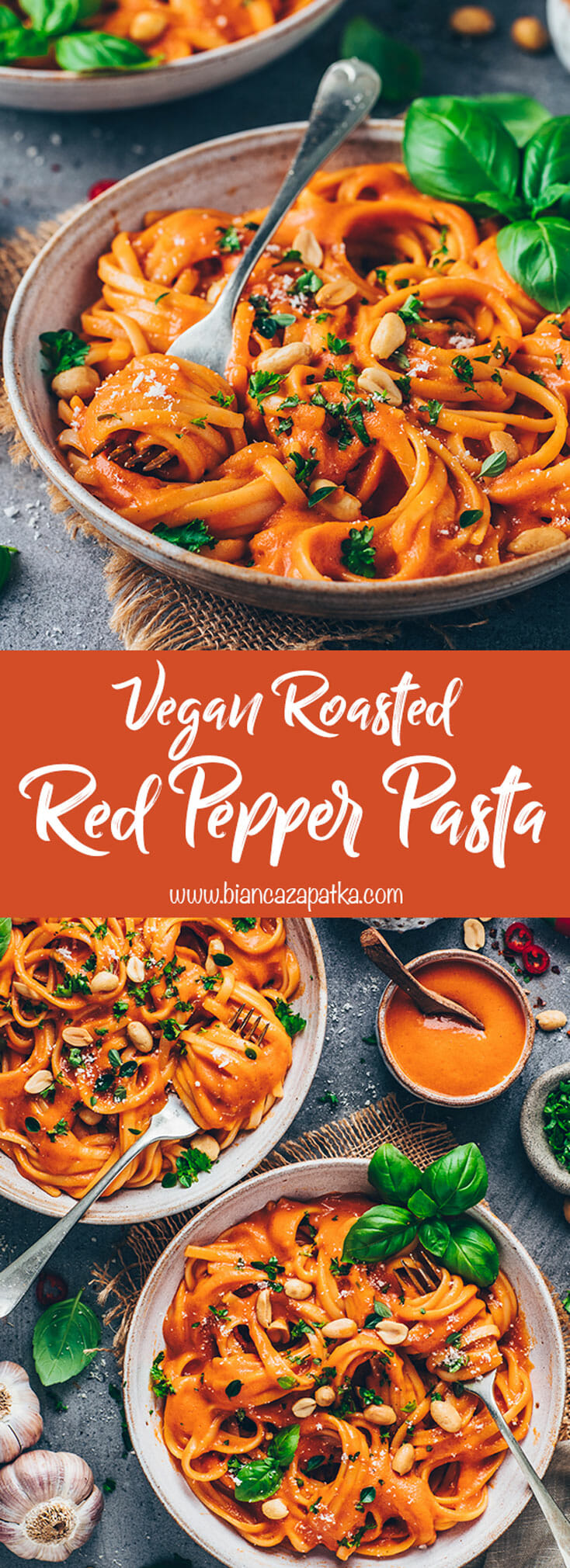 Vegan Roasted Red Pepper Sauce with Fettuccine Pasta, peanuts and basil