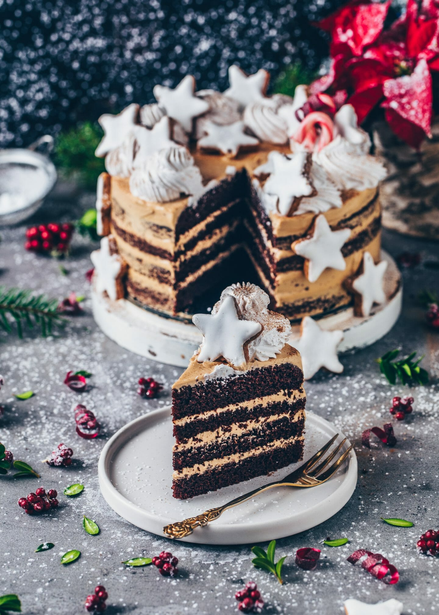 Vegan Chocolate Cake with Cookie Butter Frosting and Cinnamon Stars