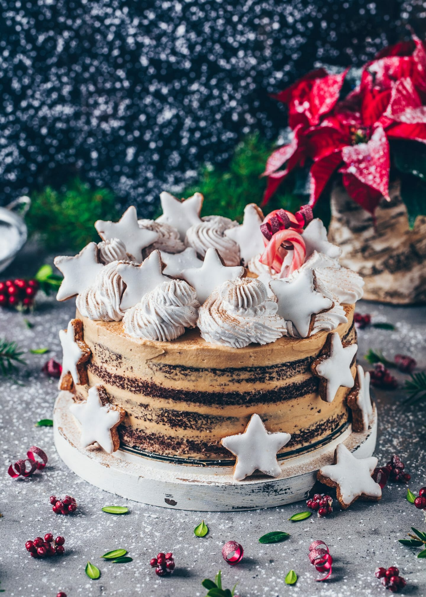 Chocolate Cake with Cookie Butter Speculoos Cream Frosting and Cinnamon Stars