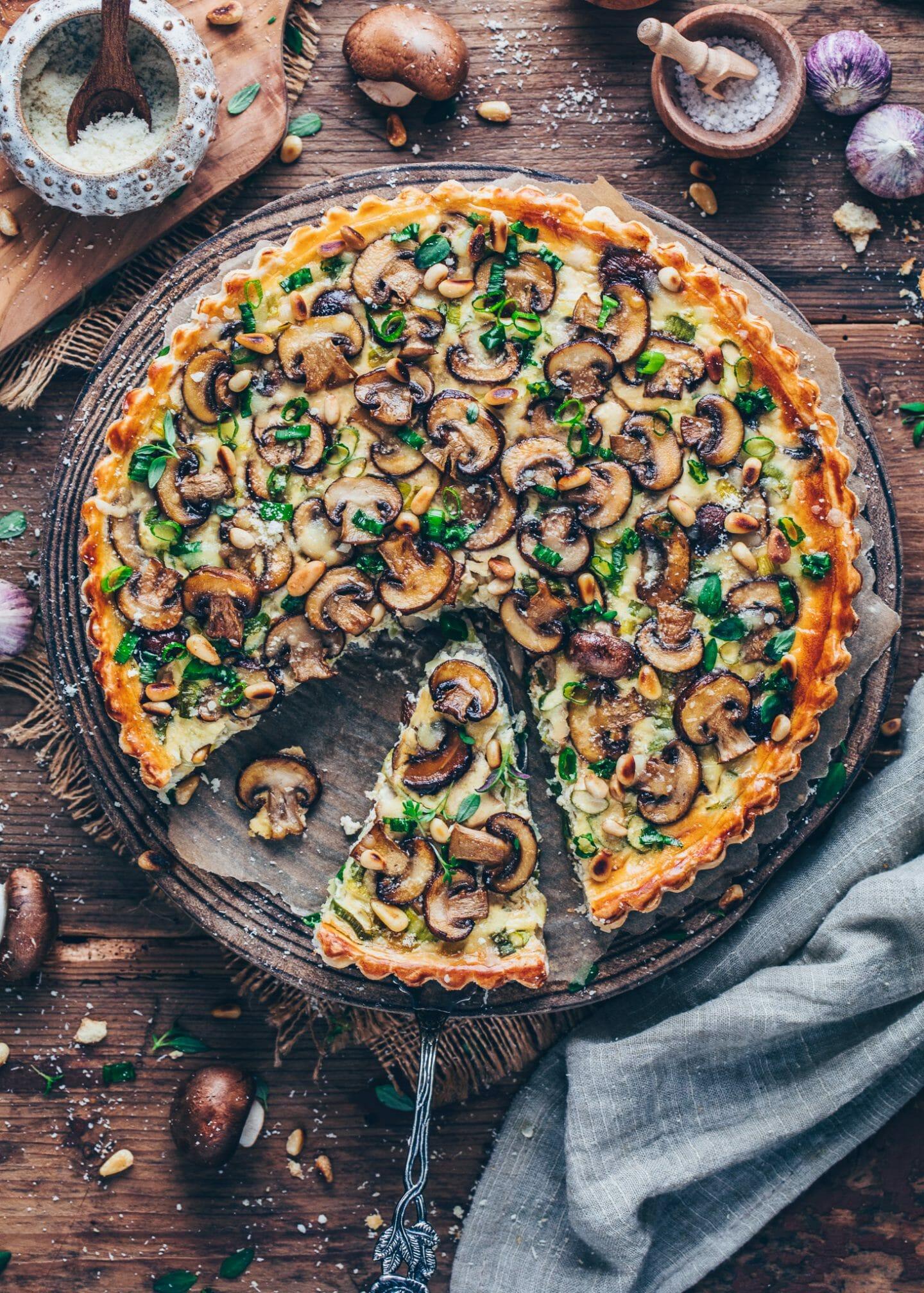 Mushroom and Leek Tart (Vegan Quiche)