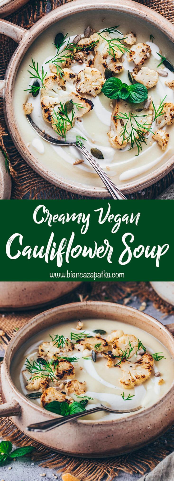 creamy cauliflower soup (best, easy, vegan)