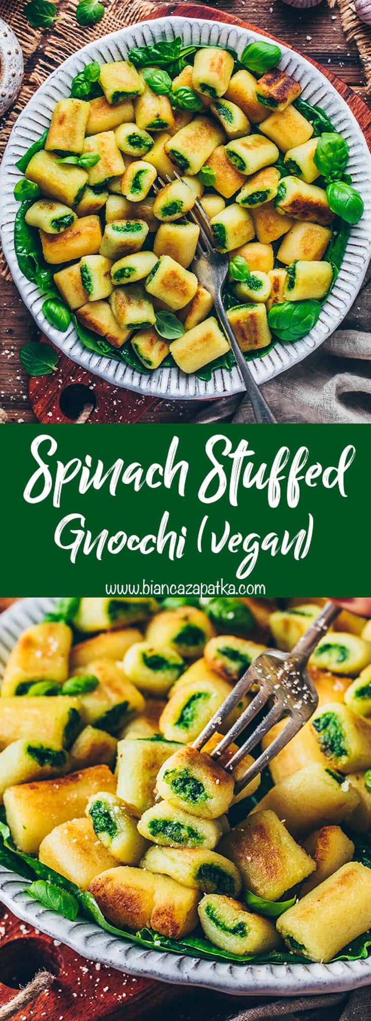 Gnocchi stuffed with Spinach Pesto and Basil (crispy mini potato dumplings)