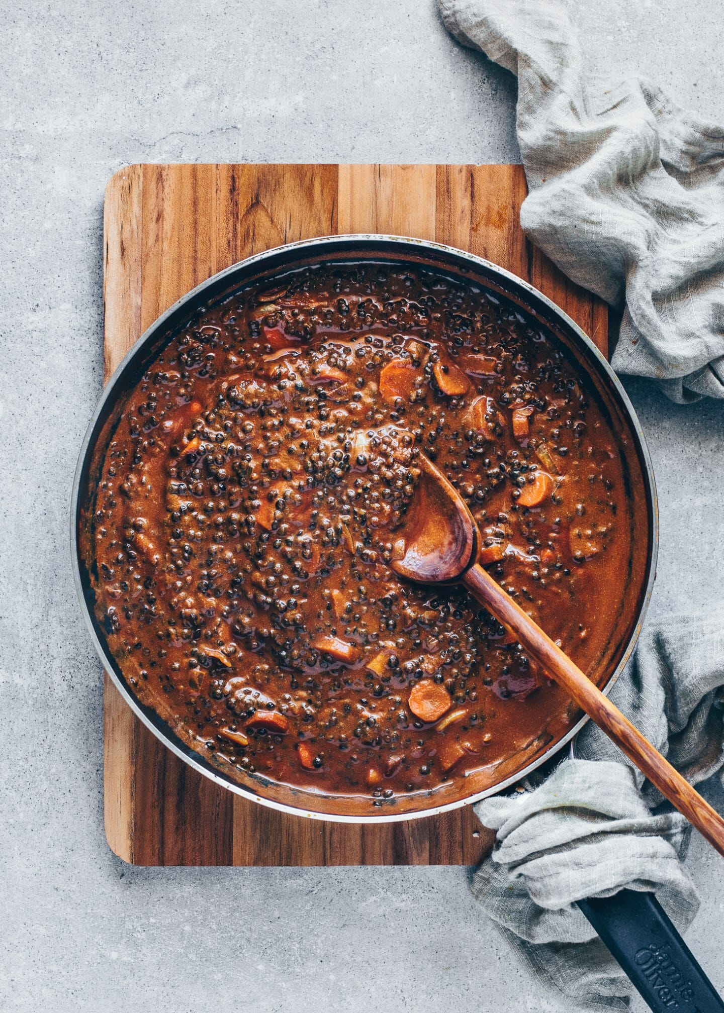 Vegan Indian Dal Makhani with coconut milk, vegetables, and black beluga lentils