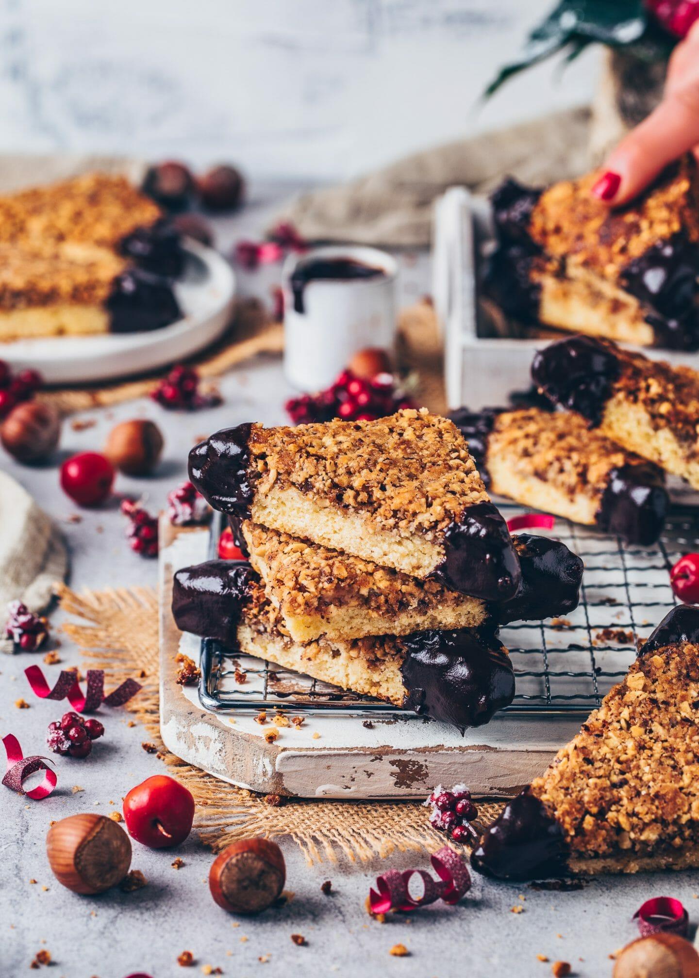 nut bars (hazelnut cookie corners with chocolate)