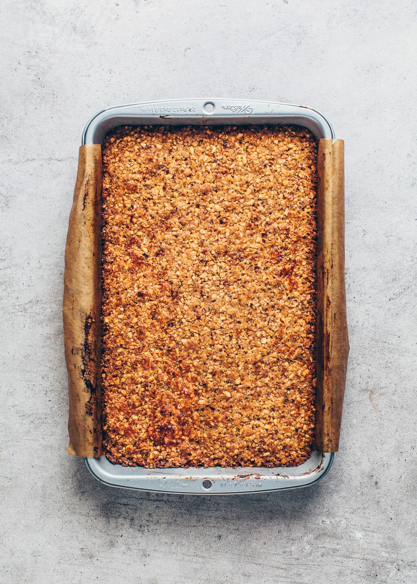 nut bars with caramelized hazelnut topping
