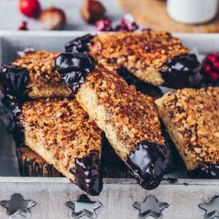 Vegan nut bars - cookie corners with hazelnuts and chocolate