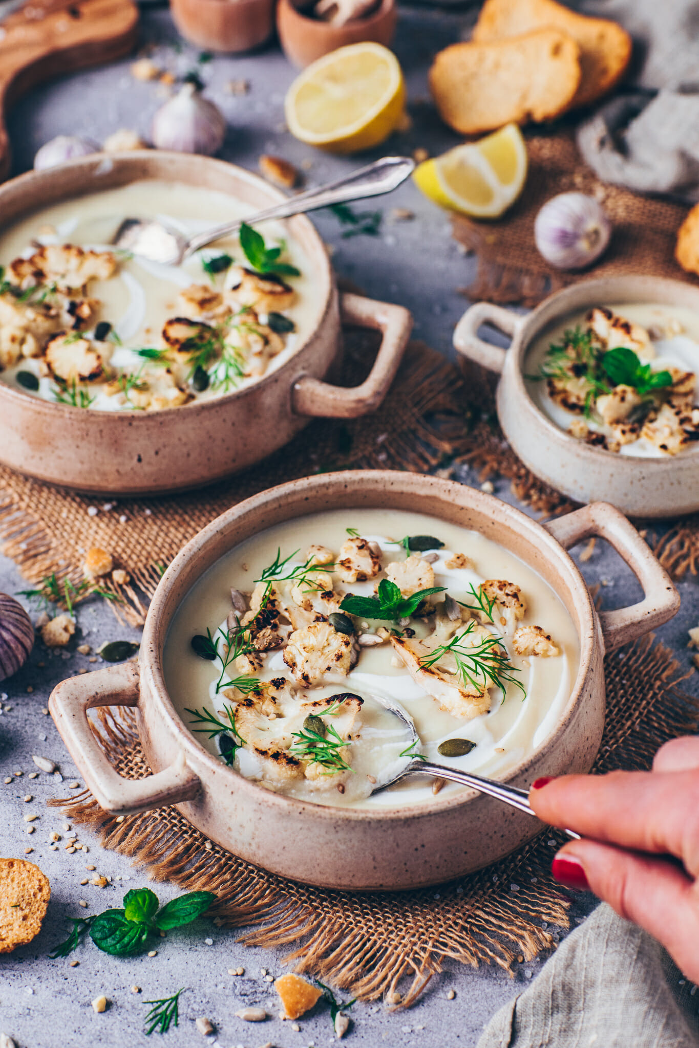 cauliflower soup (food photography, food styling)