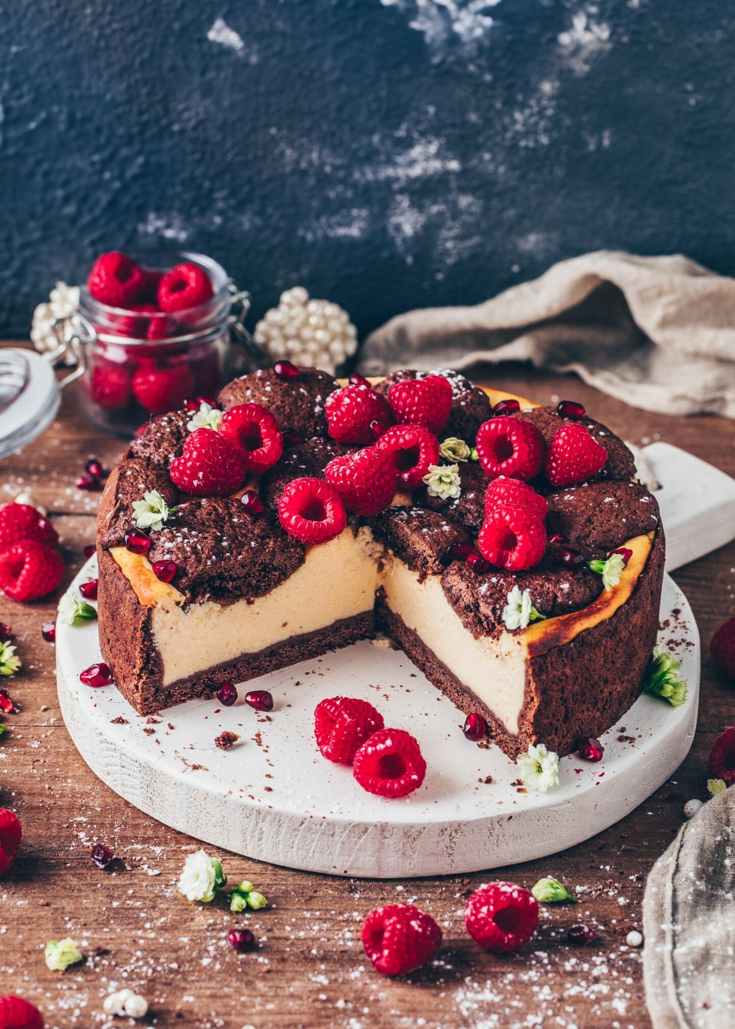 Vegan Cheesecake with chocolate cake spots
