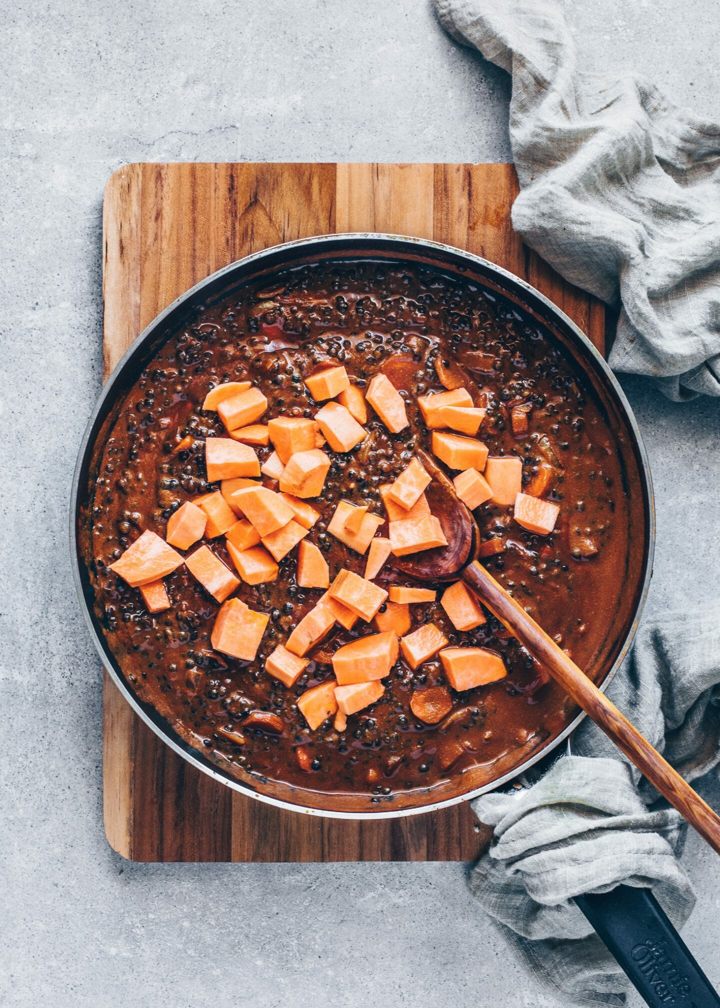 Black Lentil Curry Dal with sweet potatoes