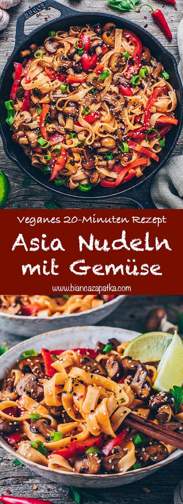 Asiatische Nudeln - Asia Thai Gemüse-Nudelpfanne mit Pilzen, Paprika, Kokosmilch, Chili, Knoblauch und Frühlingszwiebeln