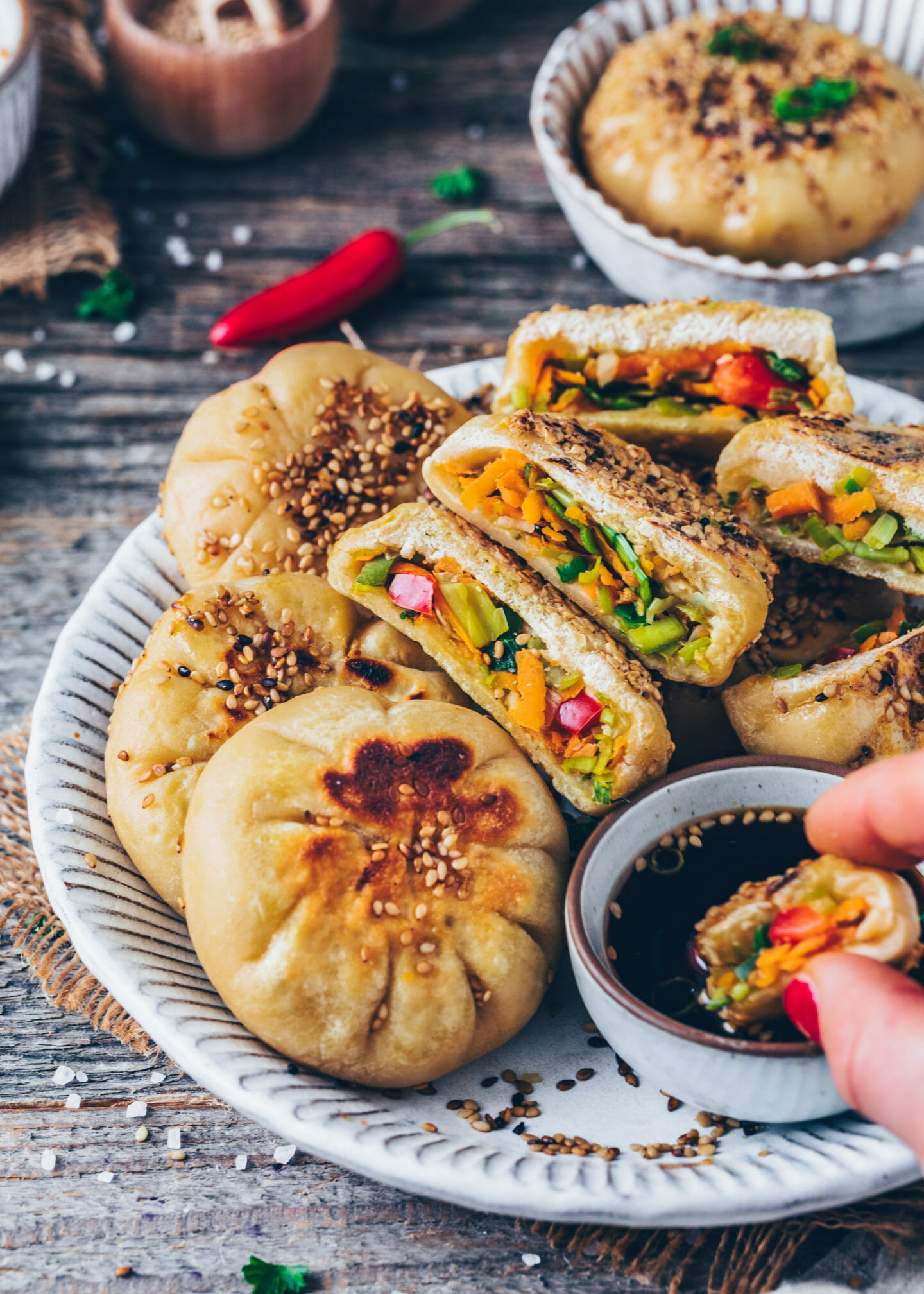 Vegetable Buns (Chinese steamed baozi dumplings)
