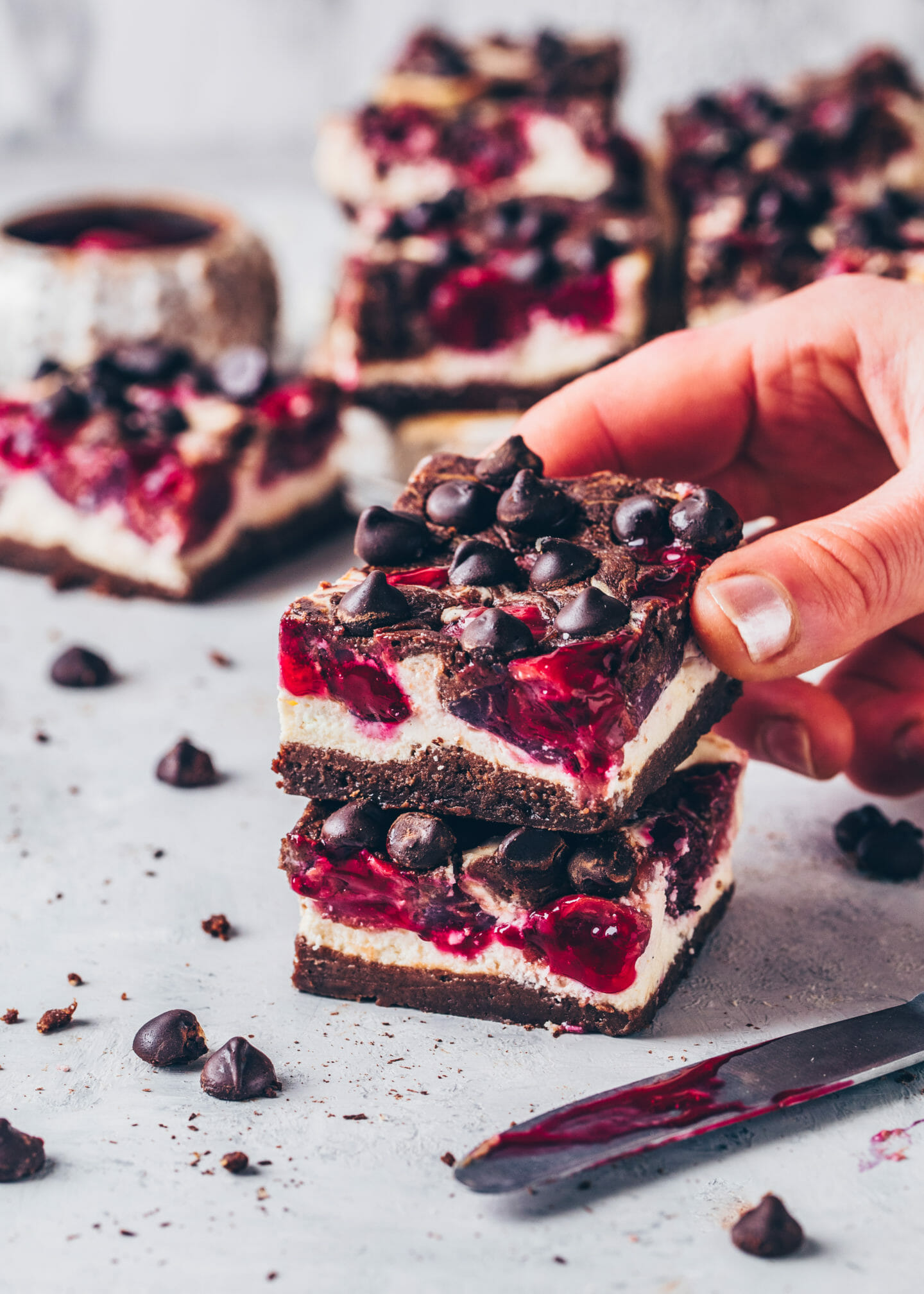 Vegan Cherry Cheesecake Brownie (chocolate cake bars)