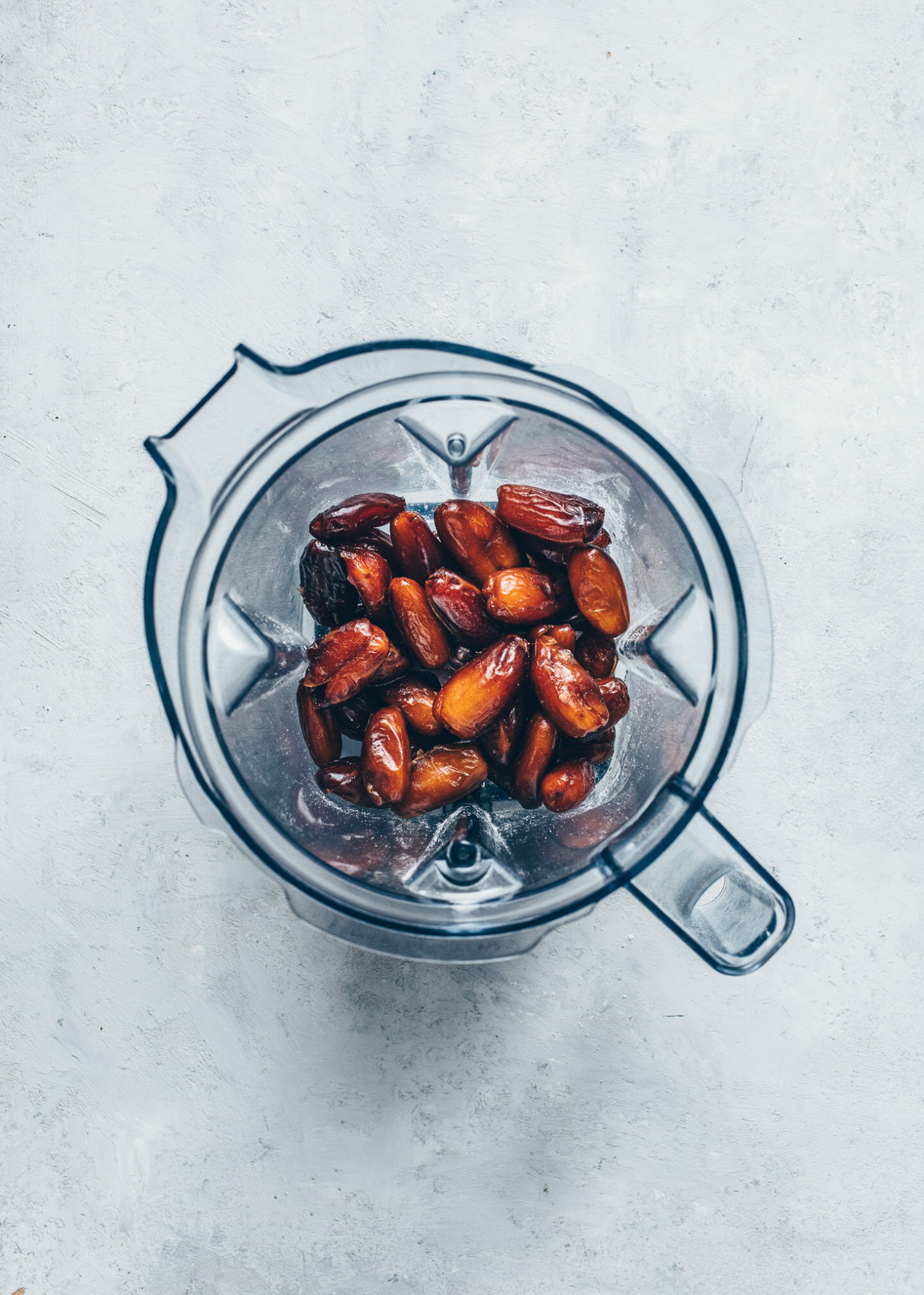 Soft Medjool Dates in a blender to make vegan Caramel