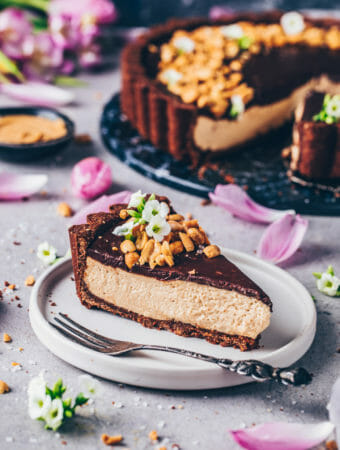 Peanut Butter Mousse Pie with Chocolate Crust (Vegan Snickers Tart)