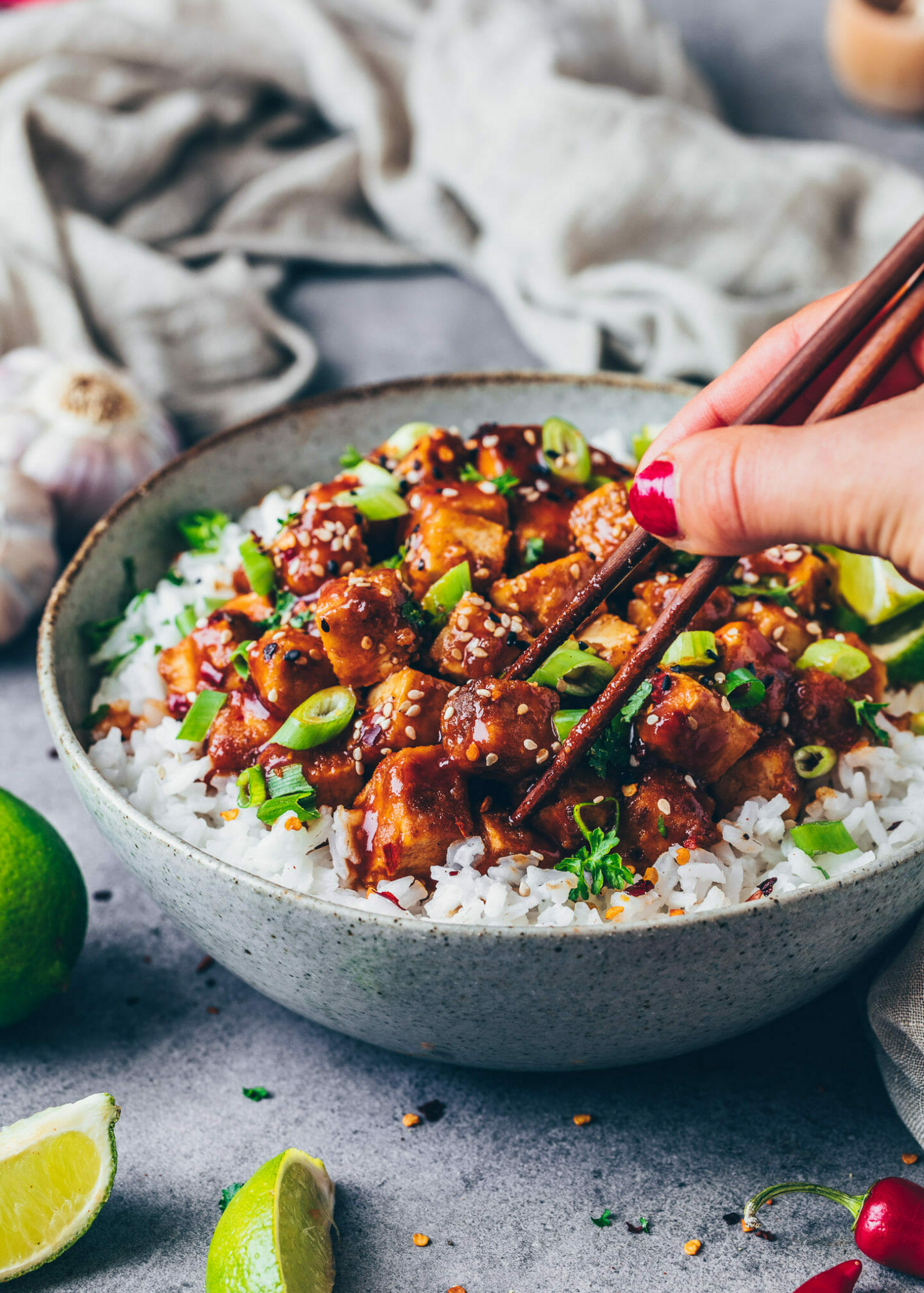 Spicy Tofu with sticky General Tso's sauce