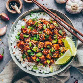 General Tso's sticky Tofu with sweet and sour sauce