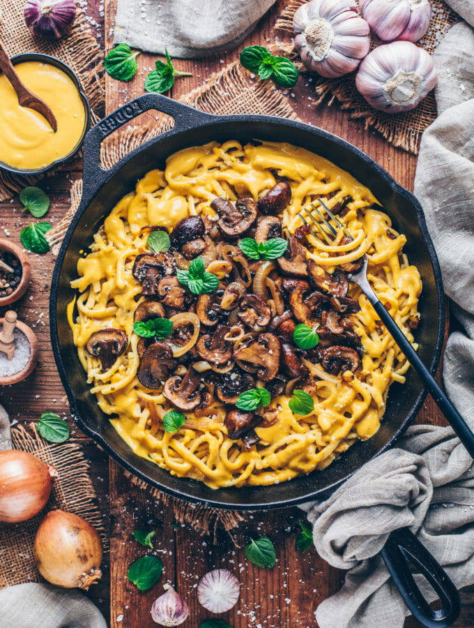 German Cheese Spaetzle Noodles with caramelized onions and mushrooms