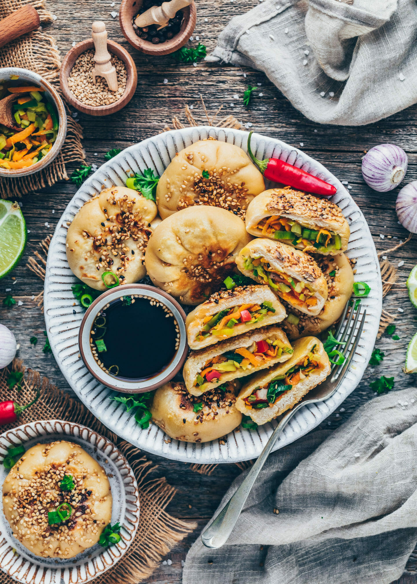 Pan-fried Steamed Bao Buns stuffed with vegetables