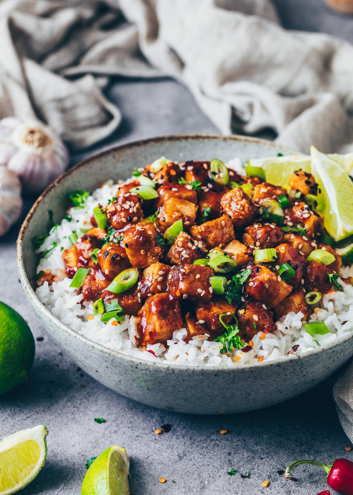 Crispy Tofu with sticky General Tso's sauce