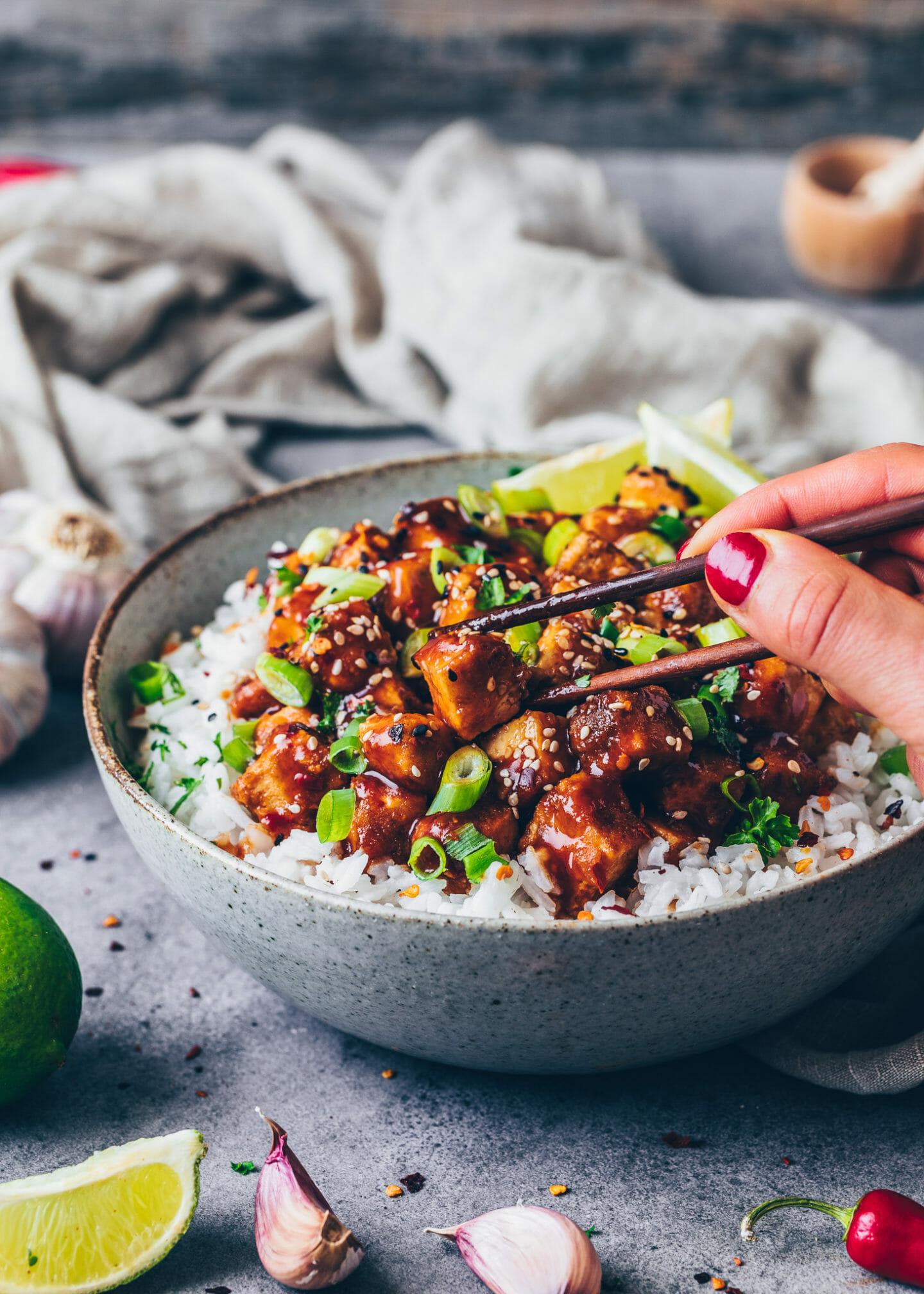Tofu mit asiatischer Süß-Sauer Marinade