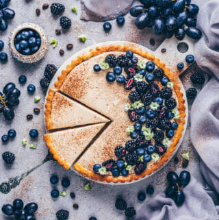 Blueberry Pudding Tart with blackberries (food photography)