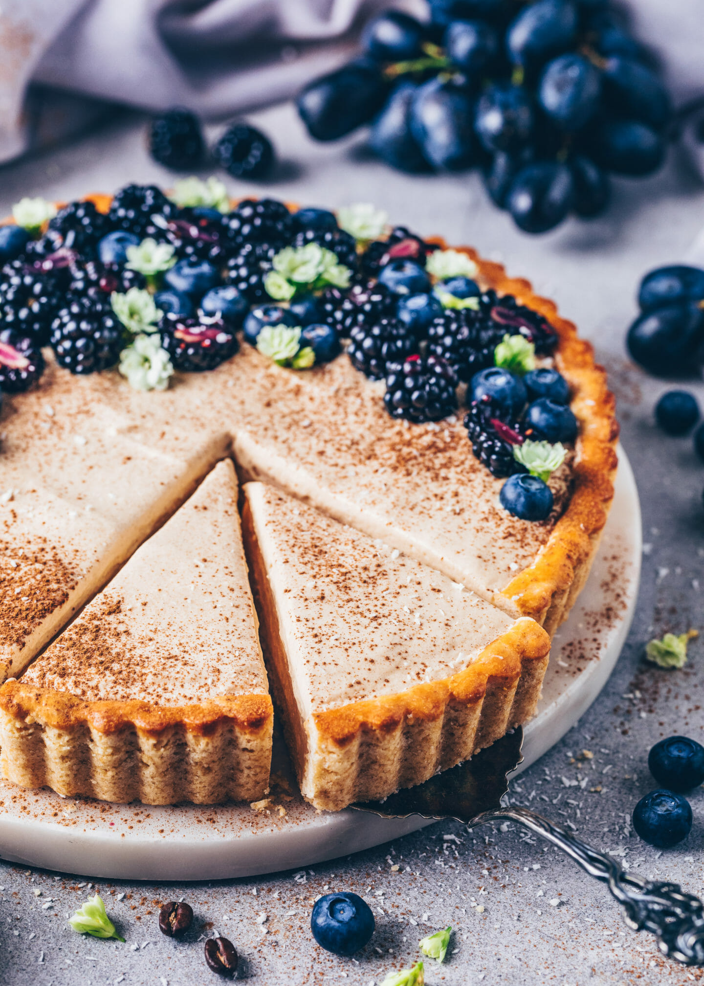 Milk Tart with vanilla pudding, cinnamon, coffee mousse, blueberries, blackberries and grapes