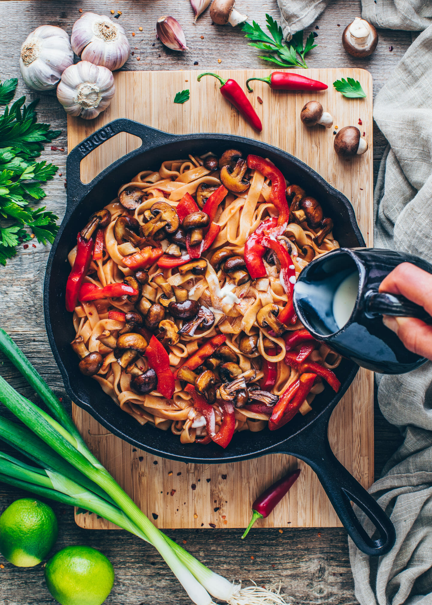 Asian Noodles with Chili, Garlic, Coconut milk, mushrooms, and bell pepper