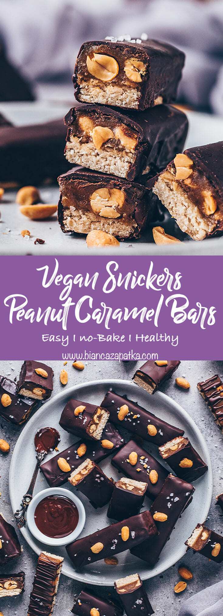 Vegan Snickers (Peanut Caramel Chocolate Bars)