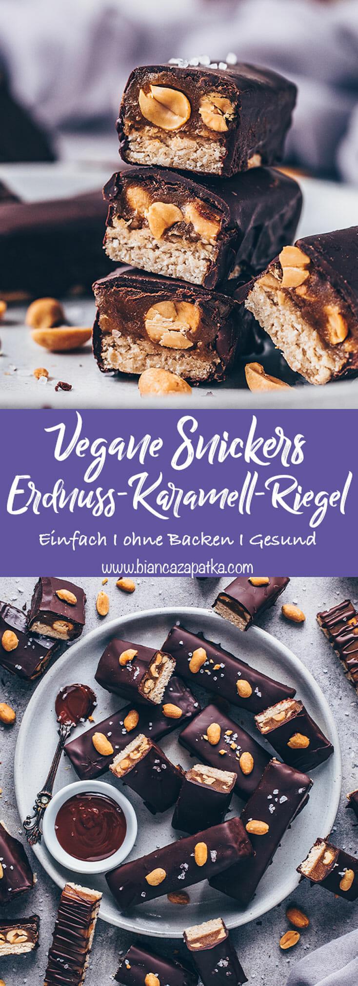 Vegane Snickers (Erdnuss-Karamell-Schokoriegel)