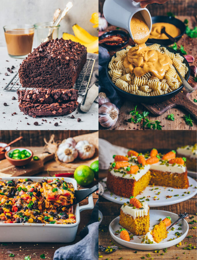 Easy Vegan Recipes (Chocolate Banana Bread, Vegan Mac and Cheese, Tortilla Casserole, Carrot Cake)