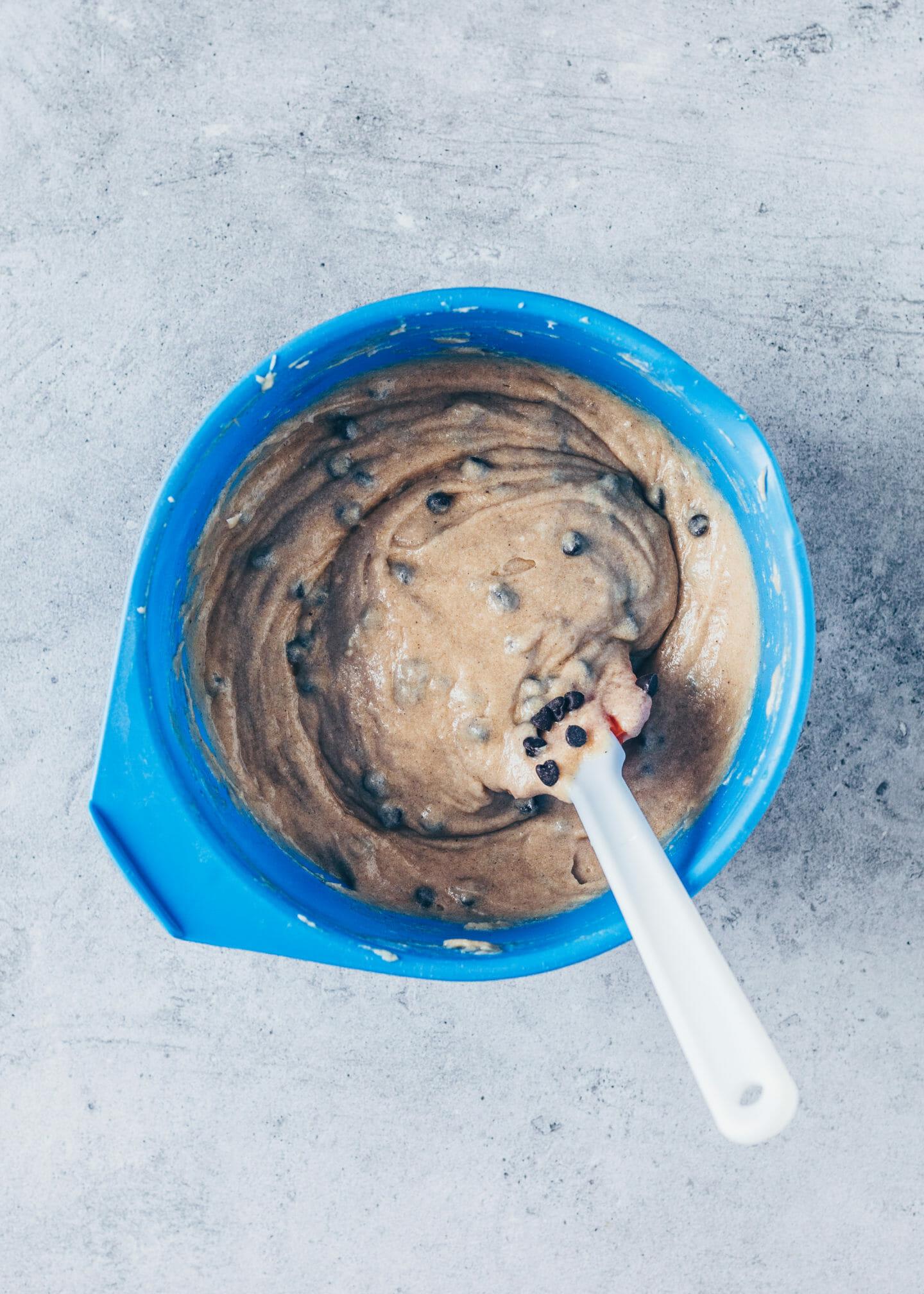vegan banana bread cake batter in a mixing bowl