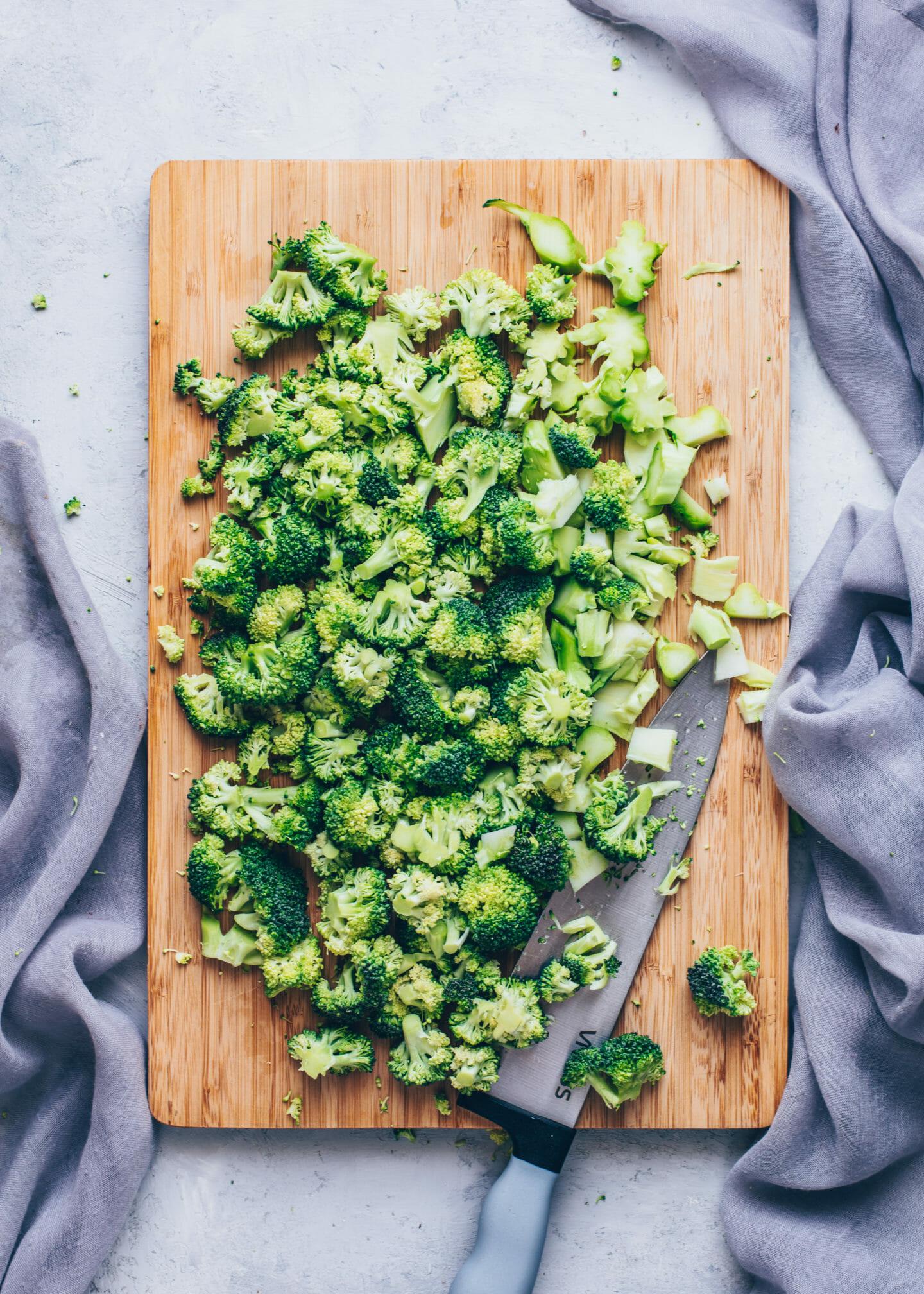 Chopped raw broccoli florets