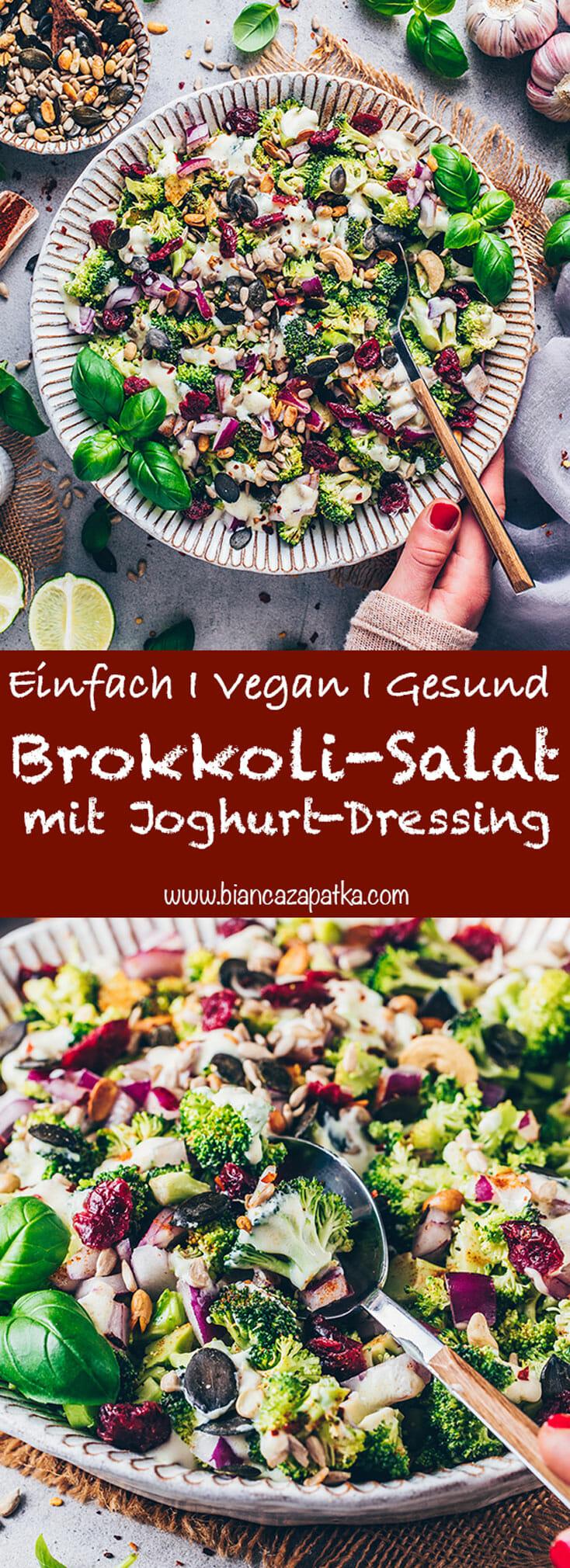 Brokkoli-Salat mit Joghurt-Dressing (gesund, vegan, einfach)