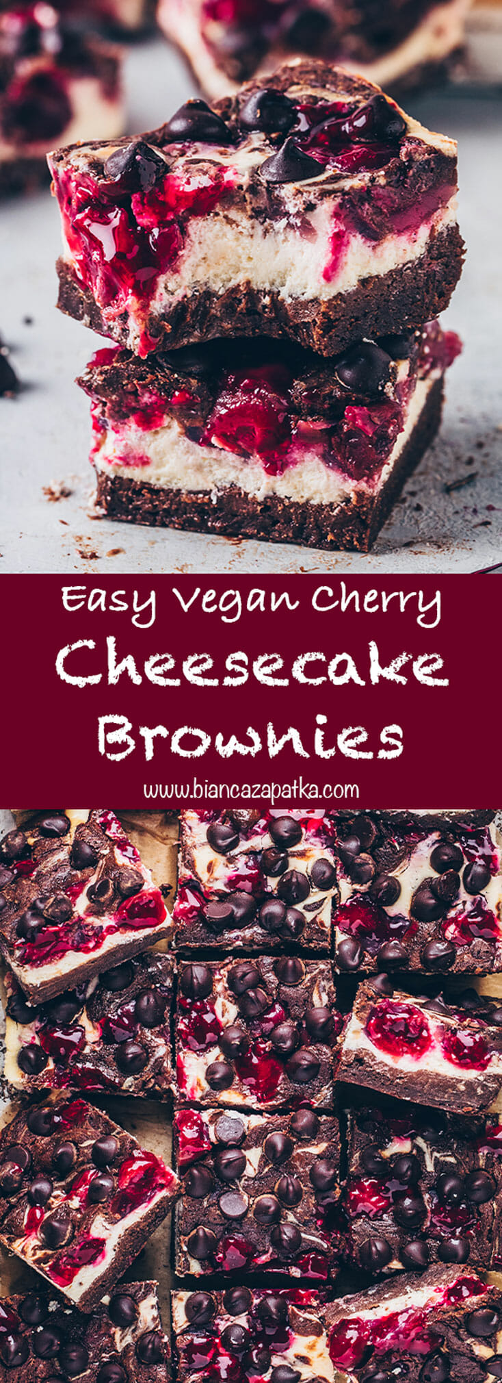 Cherry Cheesecake Brownies (chocolate cake bars)