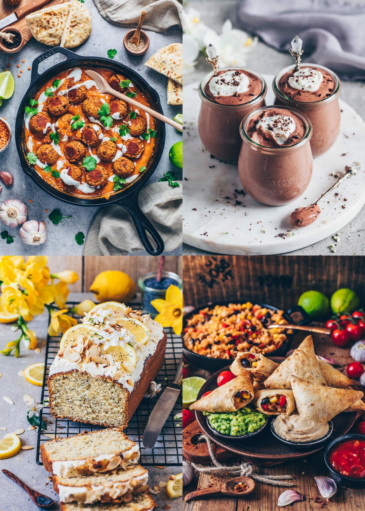 Easy Vegan Recipes (Lentil Meatballs in curry sauce, vegan chocolate mousse, poppy seed lemon cake, vegan burrito samosas)